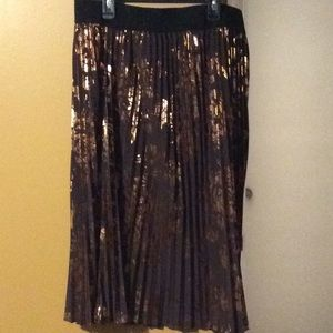 Pleated brown and gold foil skirt